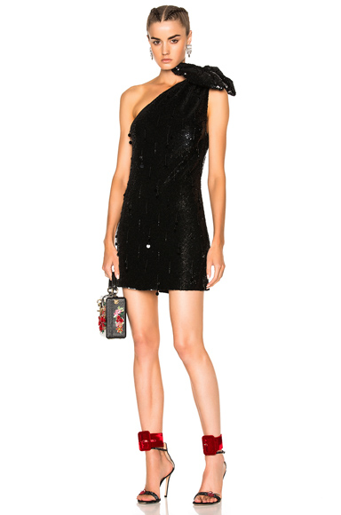 Ashish Sequin Shoulder Bow Dress in Black. - size L (also in M,S)