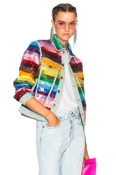 Ashish Sequin Jacket in Blue, Green, Orange, Red, Pink, Purple, Stripes