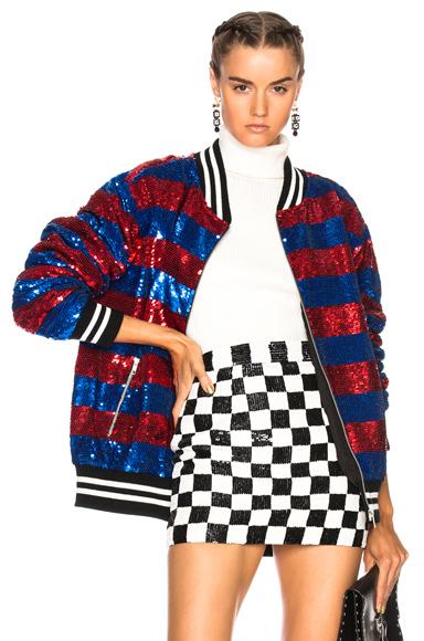 Ashish Sequin Oversize Varsity Jacket in Blue, Red, Stripes