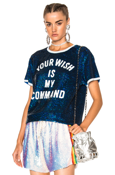 Ashish Your Wish is My Command T-Shirt in Blue, White. - size L (also in M)