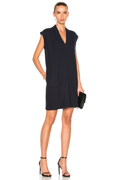 ATM Anthony Thomas Melillo Extended Shoulder V Neck Dress in Blue. - size XS (also in )
