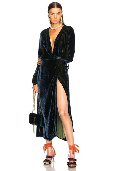 ATTICO Victoria 3 Velvet Robe Dress in Blue