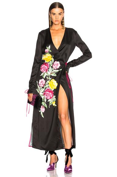 ATTICO Grace 3 Robe Dress in Black Floral in Black, Floral