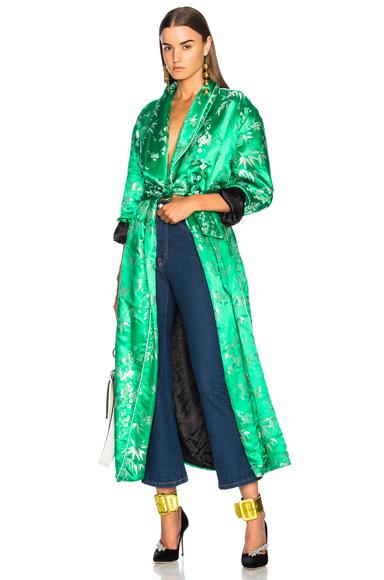 ATTICO Jacquard Robe in Green, Floral
