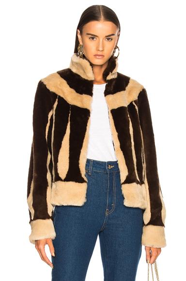 ATTICO Sara Short Faux Fur Jacket in Brown, Neutrals