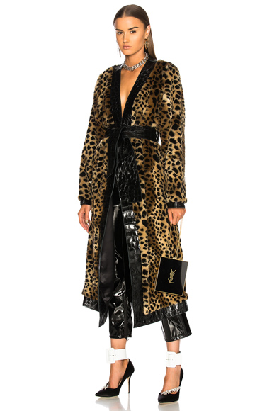 Photo of ATTICO Vivian Faux Fur Trench Coat in Neutrals, Animal Print online womens jacket sales