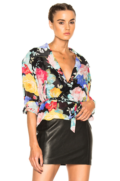 ATTICO Andrea Top in Black, Floral, Pink, Yellow. - size 2 (also in 3,4)