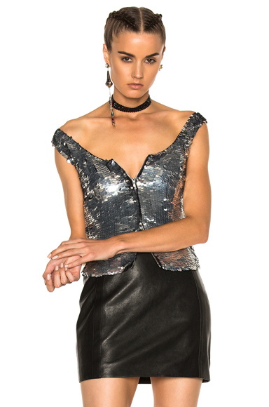 ATTICO Luisa Top in Metallics. - size 1 (also in 2,3,4)
