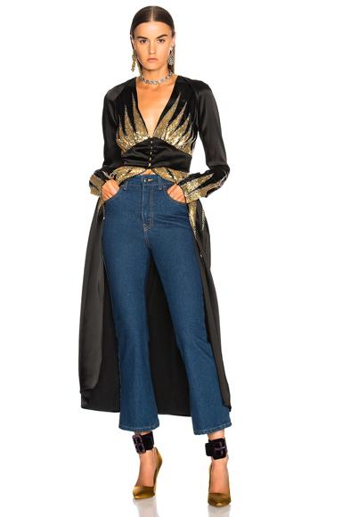 ATTICO Suzanne 2 Sequin Top in Black, Metallics
