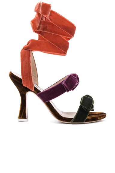 ATTICO Velvet Diletta Sandals in Purple, Orange