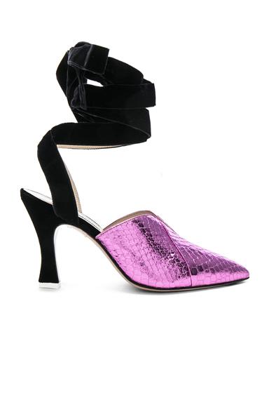ATTICO Snakeskin Embossed Olivia Heels in Metallics, Pink, Animal Print