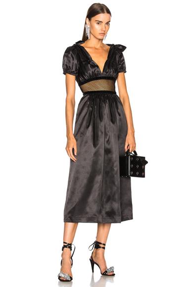 ALEXACHUNG Mesh Waist Maxi Dress in Black