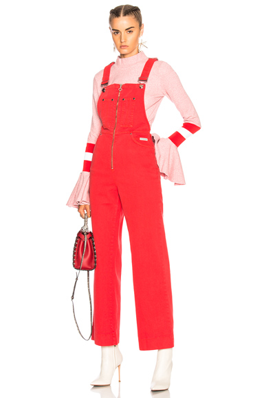 ALEXACHUNG Zip Front Dungarees in Red