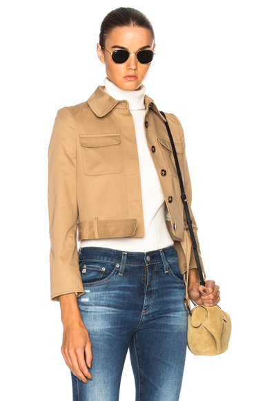 ALEXACHUNG Cropped Patch Pocket Jacket in Neutrals