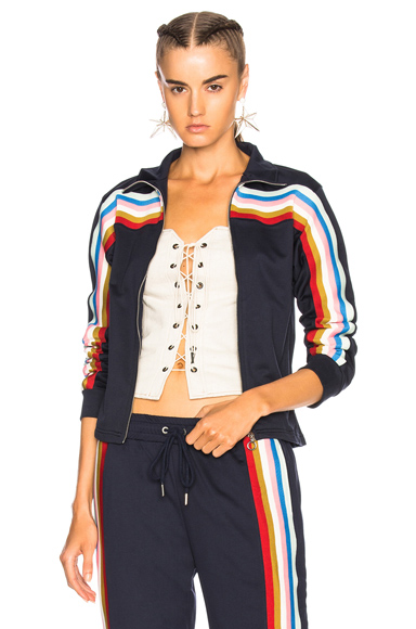 ALEXACHUNG Zip Up Track Jacket in Blue