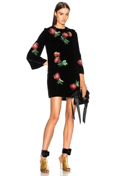 ALEXACHUNG Sequin Embroidered Tunic Top in Black, Floral