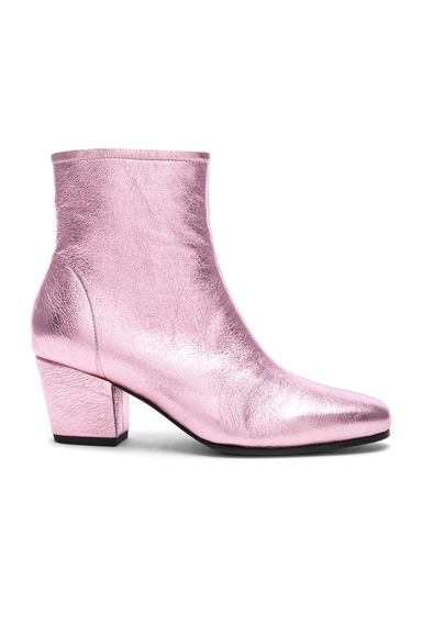 ALEXACHUNG Leather Beatnik Boots in Pink, Metallics