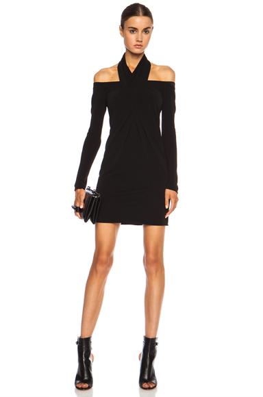 ALEXANDER WANG | Open Shoulder Scarf Draped Viscose-Blend Dress in Jet
