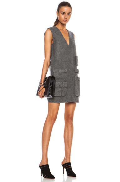 ALEXANDER WANG | Tunic Wool-Blend Dress with Multicargo Pockets in Gas