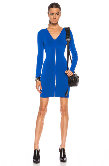 ALEXANDER WANG | Front Zip Fitted Long Sleeve Rayon-Blend Dress in Cobalt