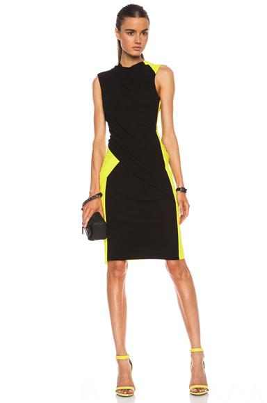 ALEXANDER WANG | Twist Drape Color Block Viscose Dress in Citrine