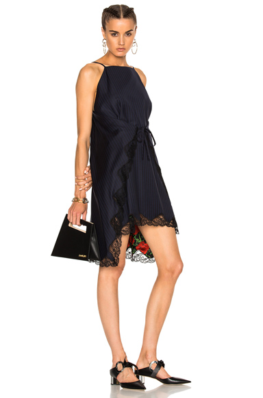 Alexander Wang Flared A-Line Apron Dress in Black, Blue, Floral, Stripes
