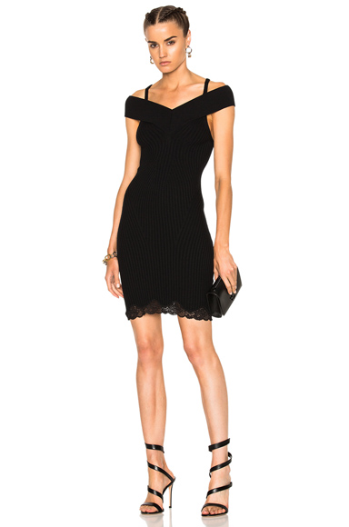 Alexander Wang Ribbed Tank Dress with Lace in Black