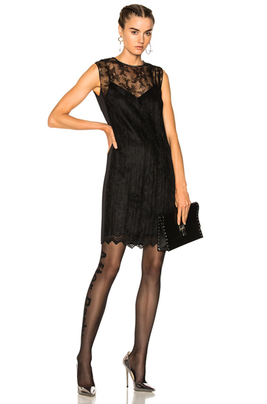 Alexander Wang Chain Trim Lace Dress in Black