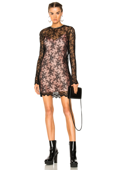 Photo of Alexander Wang Long Sleeve Pleated Crewneck Dress in Black online womens dresses sales