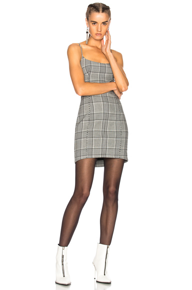 Alexander Wang Tailored Mini Dress in Black, Checkered & Plaid