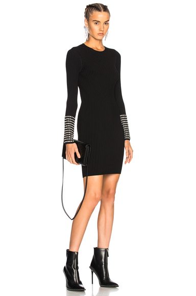 Alexander Wang Long Sleeve Dress with Crystal Cuff Detail in Black