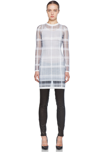 ALEXANDER WANG | Trompe L'oeil Plaid Dress with Slip in Ink