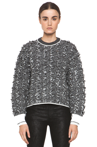 ALEXANDER WANG | Frayed Tween Long Sleeve Pullover in Charcoal