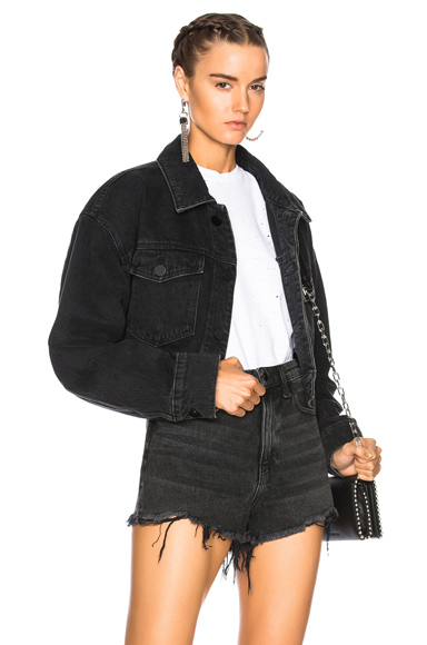 Alexander Wang Cropped Oversized Jacket in Black