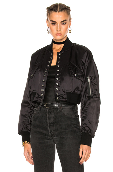 Alexander Wang Cropped Bomber Jacket in Black