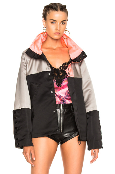 Alexander Wang Oversized Windbreaker Jacket in Black, Gray
