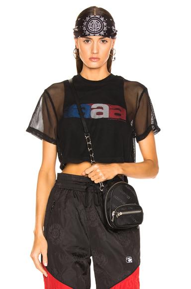 ALEXANDER WANG | Alexander Wang AAA Logo Mesh T-Shirt In Black. - Size L (Also In M,XS) | Goxip