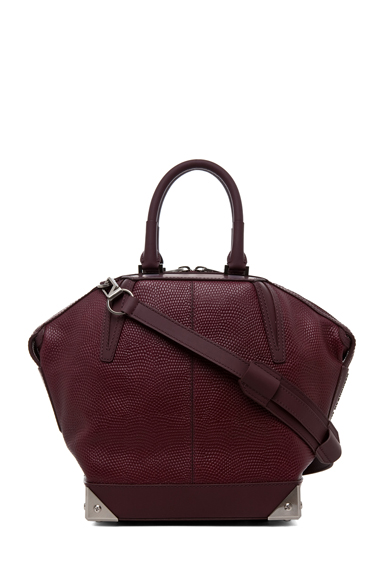 ALEXANDER WANG | Small Emile Lizard Print Tote in Oxblood