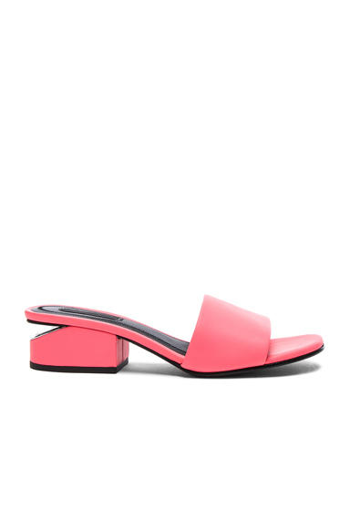 Alexander Wang Leather Lou Slides in Neon