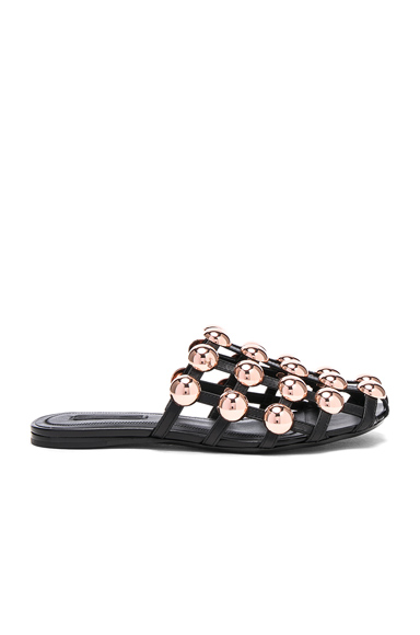 Alexander Wang Amelia Leather Slides in Black