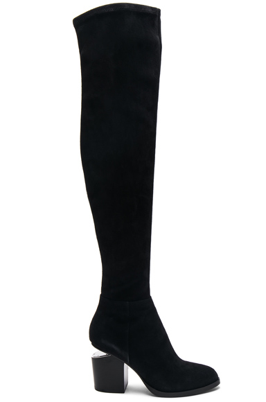Alexander Wang Suede Gabi Thigh High Boots in Black