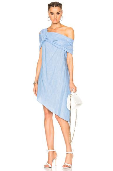 Baja East Cotton Stripe Dress in Blue, Stripes
