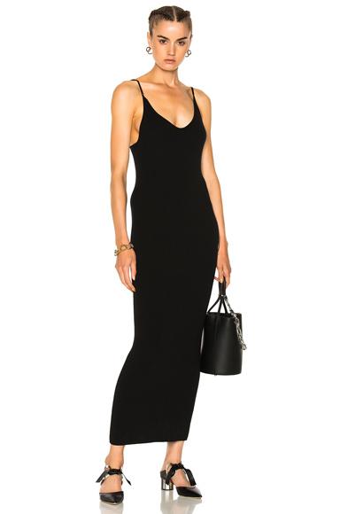Baja East Ribbed Cashmere Midi Dress in Black