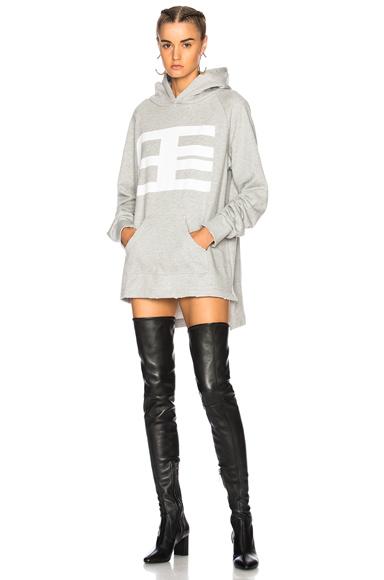 Baja East Logo Hoodie Sweatshirt Dress in Gray