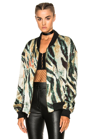 Baja East Print Satin Bomber Jacket in Abstract, Black, Green, Neutrals
