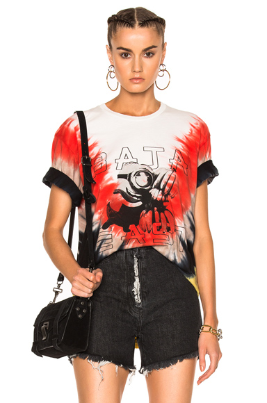 Baja East Tie Dye Cotton Tee in Ombre & Tie Dye, Red, White, Yellow. - size 0 (also in 00)