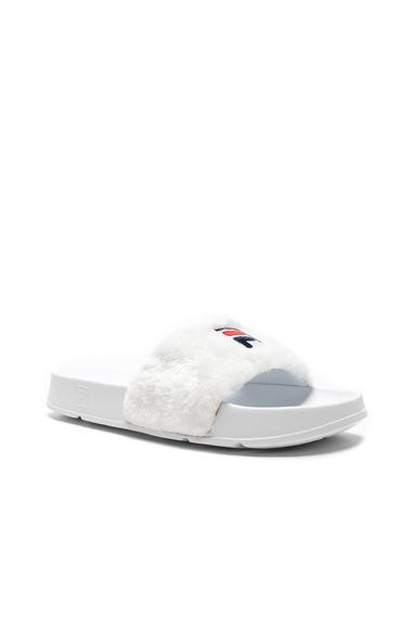 Baja East x Fila Faux Shearling Slides in White