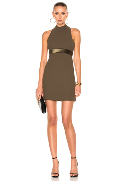 Brandon Maxwell Mod Mini Dress with High Neck in Green