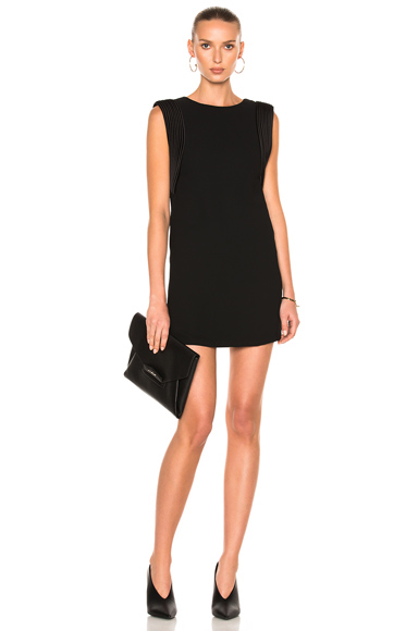 Brandon Maxwell Sleeveless Piped Arm Mini Dress in Black