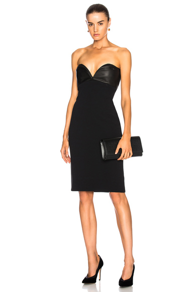 Brandon Maxwell Leather Layered Bodice Mini Dress in Black